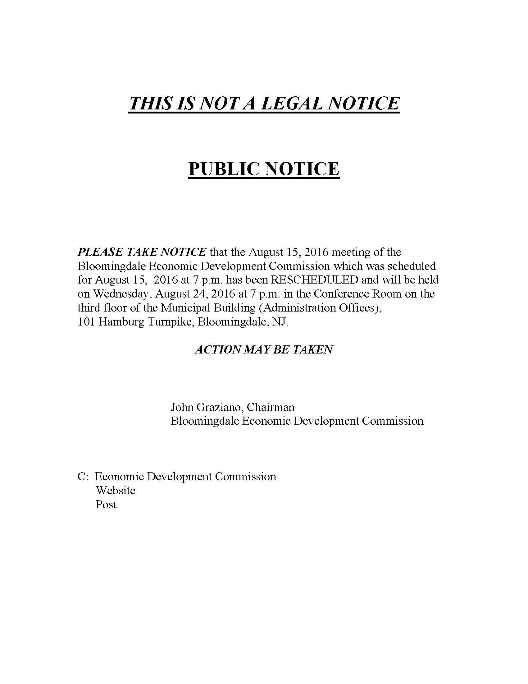 Economic Dev  Meeting Rescheduled - Borough of Bloomingdale News