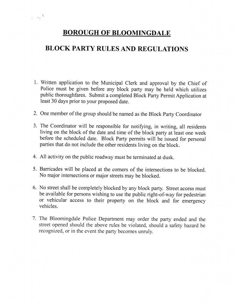 Block Party Rules - Borough of Bloomingdale