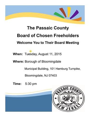 Freeholder Meeting in Bloomingdale Aug 11th