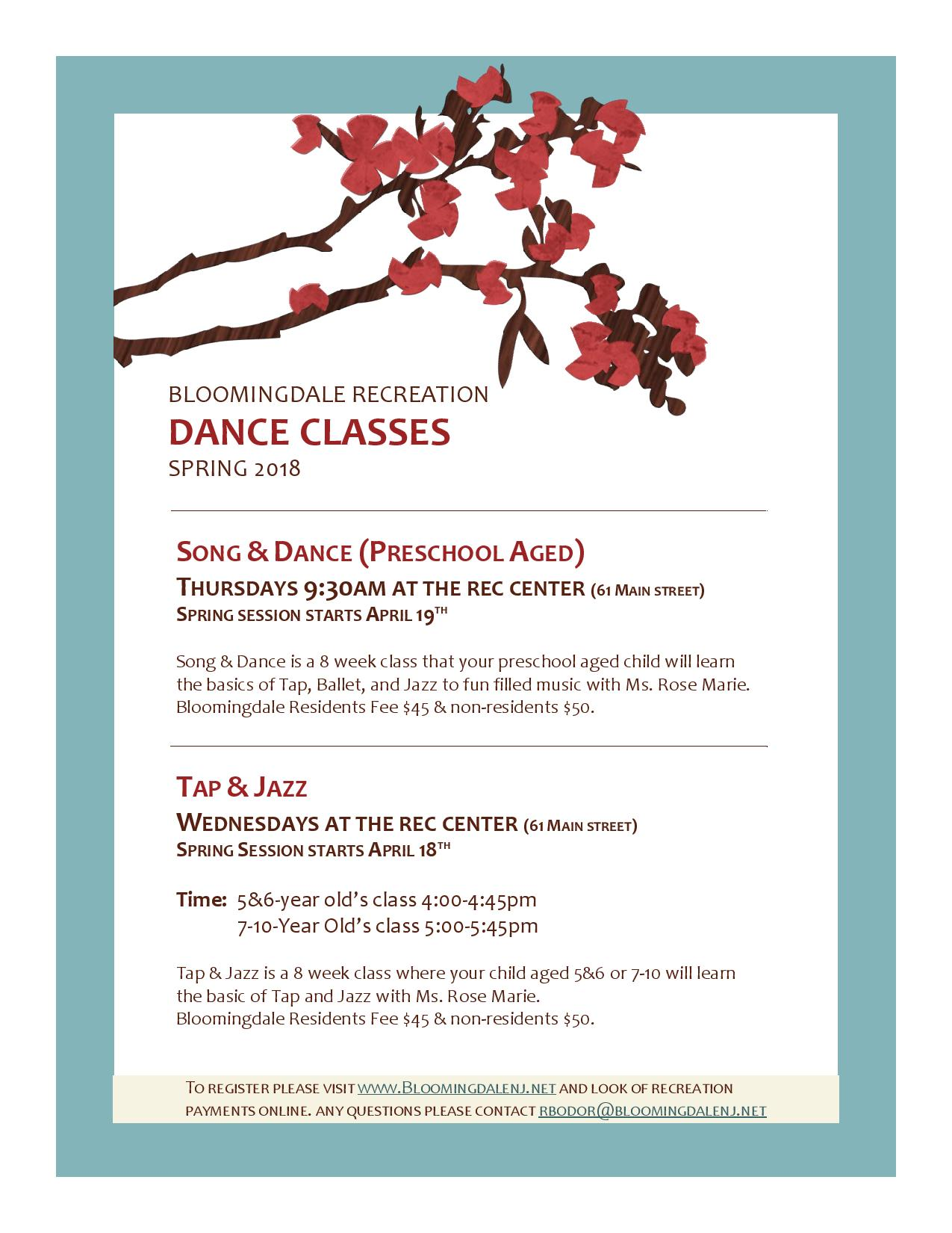 Spring 2018 dance classes borough of bloomingdale news spring 2018 dance classes release date april 03 mightylinksfo